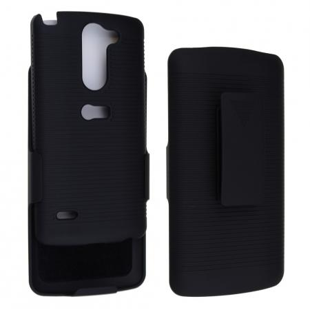 Black Rubberized Hard Case Belt Clip Holster Stand For LG G3 Stylus D690