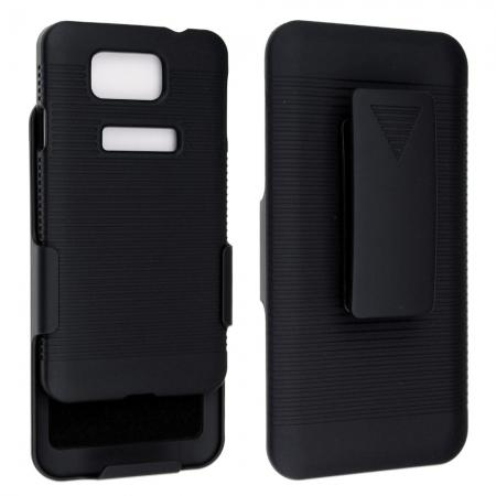 Black Rubberized Hard Case Belt Clip Holster Stand For Samsung Galaxy Alpha G850