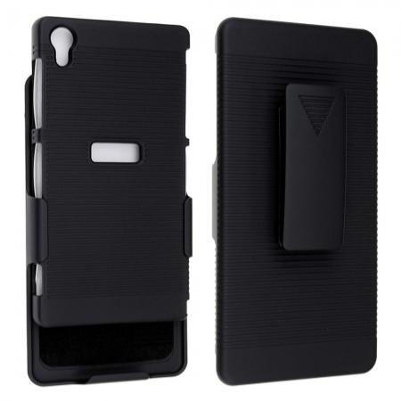 Black Rubberized Hard Case Belt Clip Holster Stand For Sony Xperia Z2 L50W