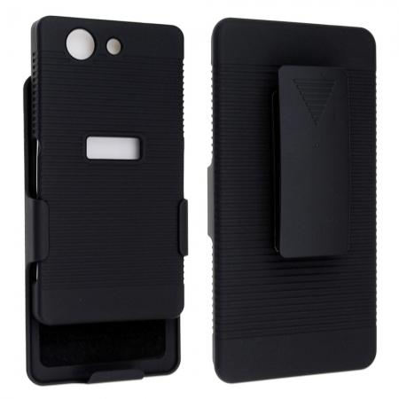 Black Rubberized Hard Case Belt Clip Holster Stand For Sony Xperia Z3 Compact/Z3 Mini