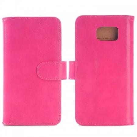 Crazy Horse Double Wallet Card Slots Flip Stand PU Leather Case for Samsung Galaxy S6 Edge  - Rose