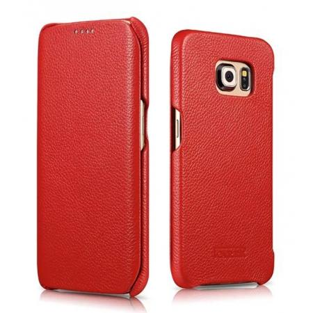 ICARER Litchi Pattern Genuine Leather Flip Case For Samsung Galaxy S6 Edge - Red