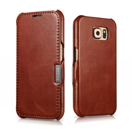 ICARER Vintage Series Genuine Cowhide Leather Magnetic Flip Case For Samsung Galaxy S6 - Brown