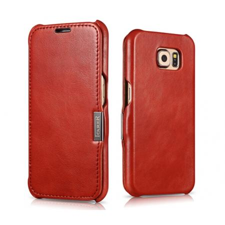 ICARER Vintage Series Genuine Cowhide Leather Magnetic Flip Case For Samsung Galaxy S6 - Red