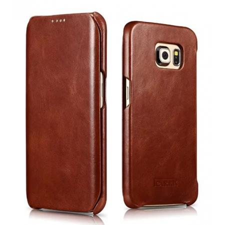 ICARER Vintage Series Genuine Leather Flip Case For Samsung Galaxy S6 Edge - Brown