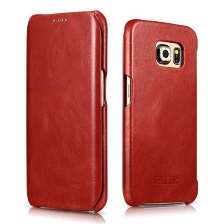 ICARER Vintage Series Genuine Leather Flip Case For Samsung Galaxy S6 Edge - Red