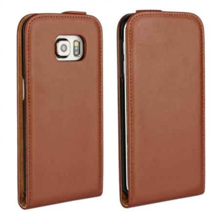 Luxury Genuine Real Leather Vertical Flip Case Cover for Samsung Galaxy S6 Edge - Brown
