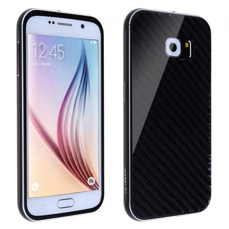 Luxury Metal Aluminum Bumper Carbon Fiber Back Cover Case For Samsung Galaxy S6 - Black