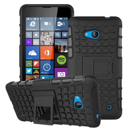 Shockproof Armor Design TPU Hard Case Cover Stand for Microsoft Lumia 640 - Black