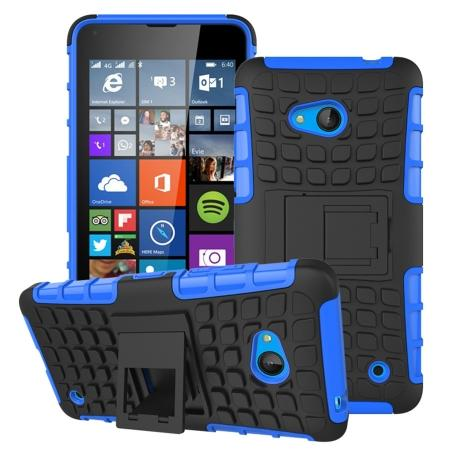 Shockproof Armor Design TPU Hard Case Cover Stand for Microsoft Lumia 640 - Blue