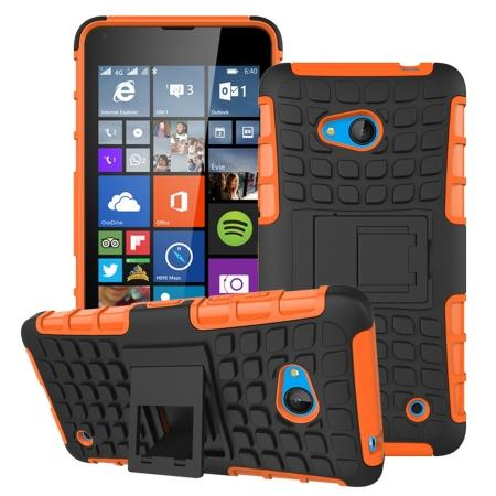 Shockproof Armor Design TPU Hard Case Cover Stand for Microsoft Lumia 640 - Orange