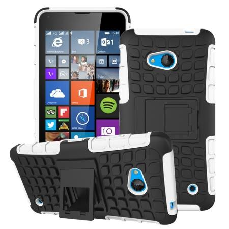 Shockproof Armor Design TPU Hard Case Cover Stand for Microsoft Lumia 640 - White
