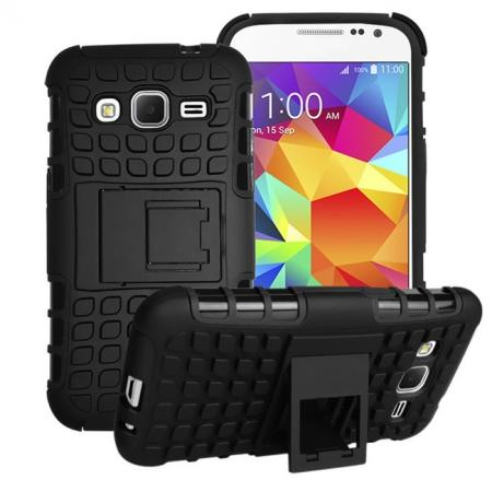 Shockproof Armor Design TPU Hard Case Cover Stand for Samsung Galaxy Core Prime G360 - Black