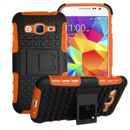 Shockproof Armor Design TPU Hard Case Cover Stand for Samsung Galaxy Core Prime G360 - Orange