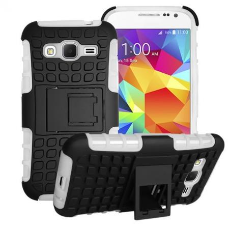 Shockproof Armor Design TPU Hard Case Cover Stand for Samsung Galaxy Core Prime G360 - White