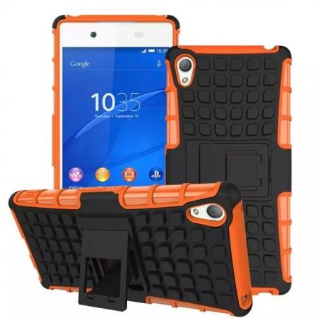 Shockproof Armor Design TPU Hard Case Cover Stand for Sony Xperia Z4 - Orange