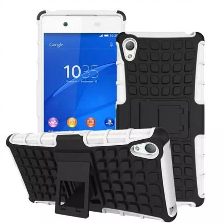 Shockproof Armor Design TPU Hard Case Cover Stand for Sony Xperia Z4 - White