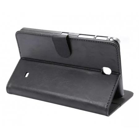 Luxury Crazy Horse Leather Flip Stand Case for Samsung Galaxy Tab 4 T230 - Black
