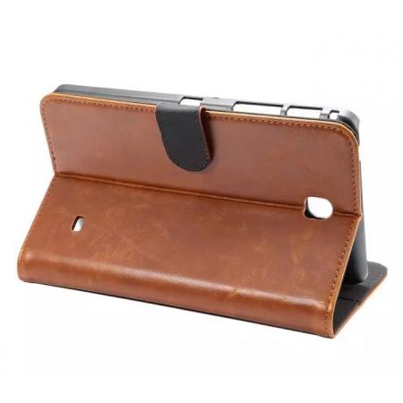 Luxury Crazy Horse Leather Flip Stand Case for Samsung Galaxy Tab 4 T230 - Brown