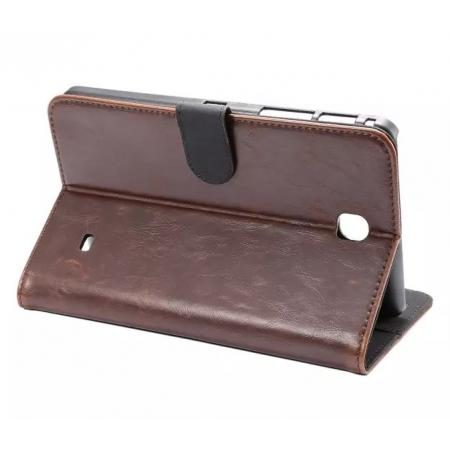 Luxury Crazy Horse Leather Flip Stand Case for Samsung Galaxy Tab 4 T230 - Coffee