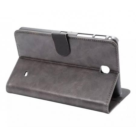Luxury Crazy Horse Leather Flip Stand Case for Samsung Galaxy Tab 4 T230 - Gray