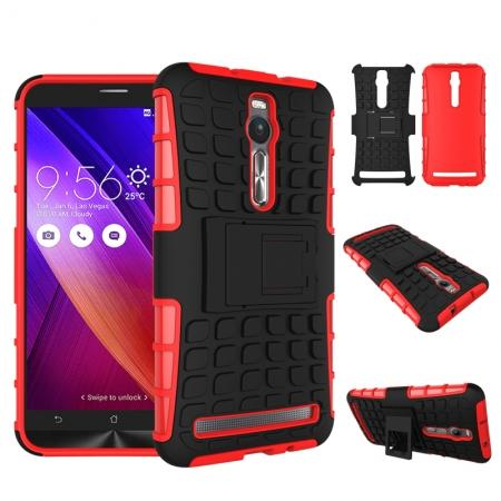 Shockproof Armor Design TPU Hard Case Cover Stand for Asus Zenfone 2 5.5inch - Red