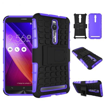 Shockproof Armor Design TPU Hard Case Cover Stand for Asus Zenfone 2 5.5inch - Purple