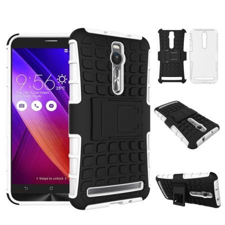 Shockproof Armor Design TPU Hard Case Cover Stand for Asus Zenfone 2 5.5inch - White