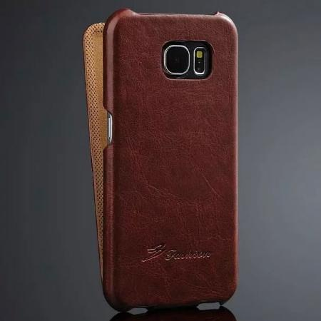 Crazy Horse Vertical Flip PU Leather Case for Samsung Galaxy S6 - Brown