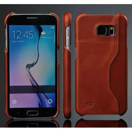 Luxury Genuine Leather Back Case Cover for Samsung Galaxy S6 With Credit Card holder - Brown