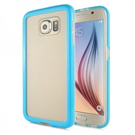 Soft TPU Clear Transparent Bumper Back Case Cover For Samsung Galaxy S6 G920 - Blue
