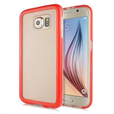 Soft TPU Clear Transparent Bumper Back Case Cover For Samsung Galaxy S6 G920 - Red
