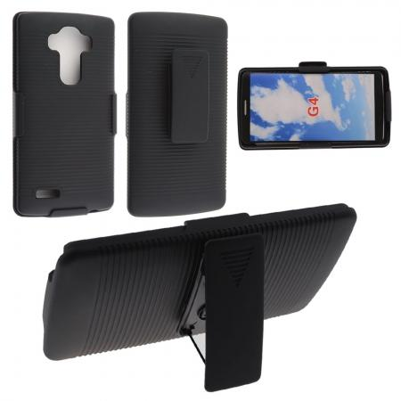 Black Rubberized Hard Case Belt Clip Holster Stand For LG G4