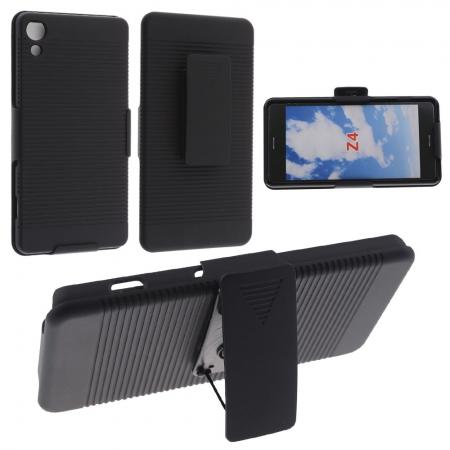 Black Rubberized Hard Case Belt Clip Holster Stand For Sony Xperia Z4