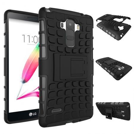 Shockproof Armor Design TPU Hard Case Cover Stand for LG G Stylo LS770/G4 Stylus - Black