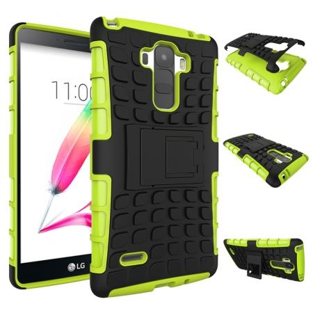 Shockproof Armor Design TPU Hard Case Cover Stand for LG G Stylo LS770/G4 Stylus - Green