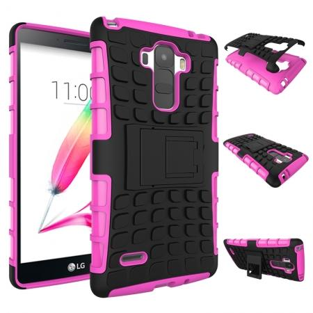 Shockproof Armor Design TPU Hard Case Cover Stand for LG G Stylo LS770/G4 Stylus - Hot pink