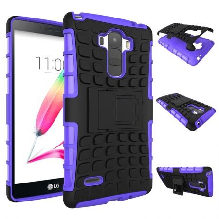 Shockproof Armor Design TPU Hard Case Cover Stand for LG G Stylo LS770/G4 Stylus - Purple
