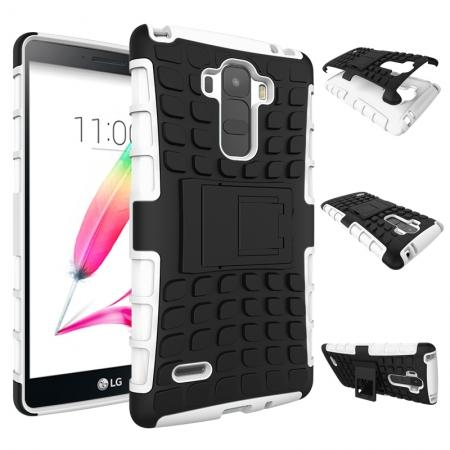 Shockproof Armor Design TPU Hard Case Cover Stand for LG G Stylo LS770/G4 Stylus - White