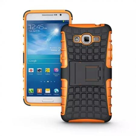 Shockproof Armor Design TPU Hard Case Cover Stand for Samsung Galaxy Grand Prime G5308 - Orange