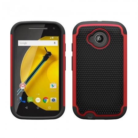 2in1 ShockProof Protection Case Cover For Motorola Moto E2 - Red