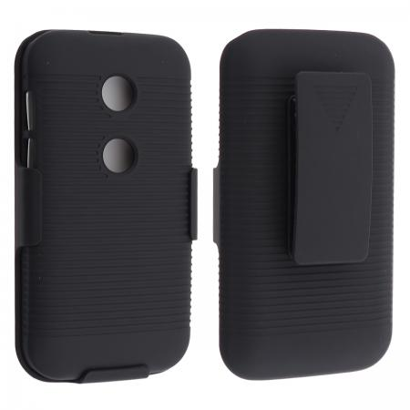 Black Rubberized Hard Case Belt Clip Holster Stand For Motorola Moto E