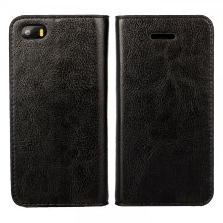 Crazy Horse Genuine Wallet Leather Cover Case for iPhone SE/5S/5 - Black