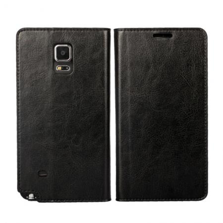 Crazy Horse Genuine Wallet Leather Cover Case For Samsung Galaxy Note 4 - Black