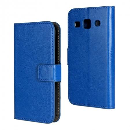 Crazy Horse Texture Stand Pu Leather Case for Samsung Galaxy Core Plus G3500 with Card Slots - Blue
