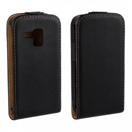 Genuine Real Leather Vertical Flip Case Cover for Samsung Galaxy Trend Duos S7562 - Black