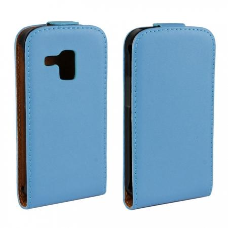 Genuine Real Leather Vertical Flip Case Cover for Samsung Galaxy Trend Duos S7562 - Blue