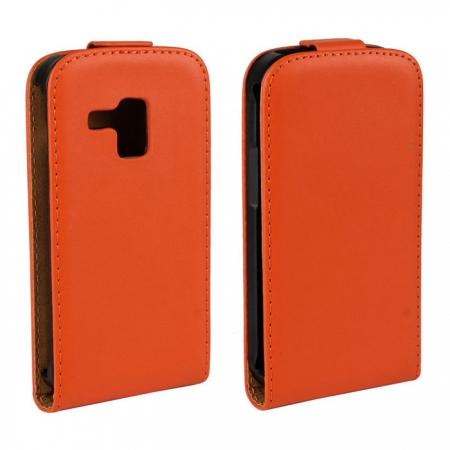 Genuine Real Leather Vertical Flip Case Cover for Samsung Galaxy Trend Duos S7562 - Orange