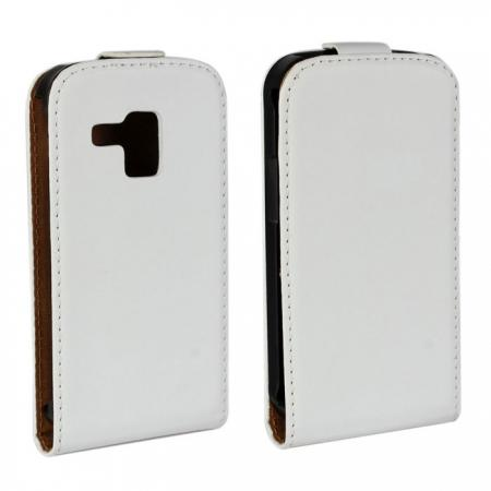 Genuine Real Leather Vertical Flip Case Cover for Samsung Galaxy Trend Duos S7562 - White