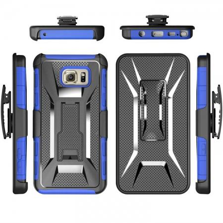 Hybrid Armor Combo Holster Case Cover With Belt Clip Stand For Samsung Galaxy Note 5 - Blue